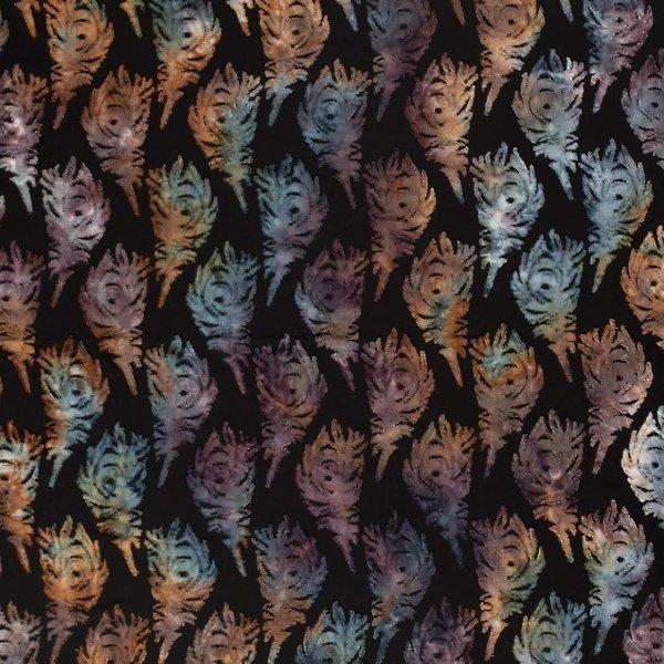 Jersey met opgelegd bladpatroon bruin