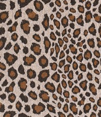 Mantelstof dierenprint oker-bruin