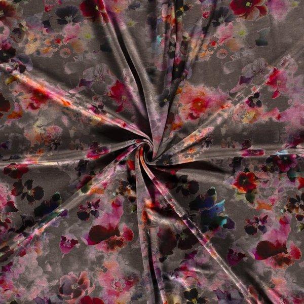 Viscose japanse bloem op taupe
