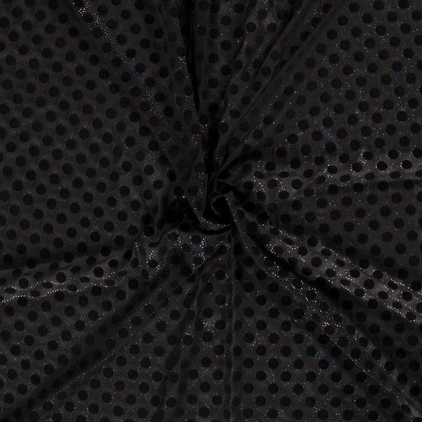 Chiffon met glitter en vlokstip zwart
