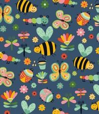 Bloemetjes en bijtjes jeansblauw