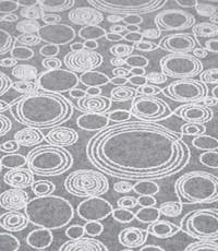 Mantelstof grijs met witte cirkels