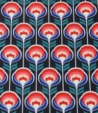 Soft shell retro met rood en blauw