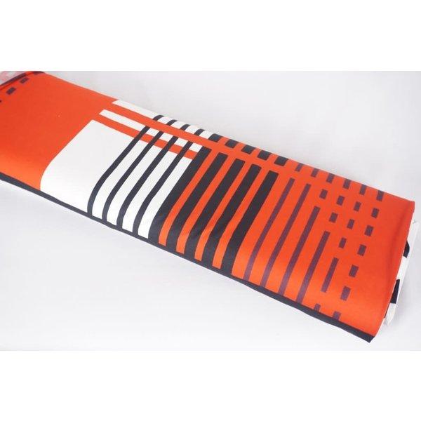 Tricot  pendelstreep rood zwart en wit