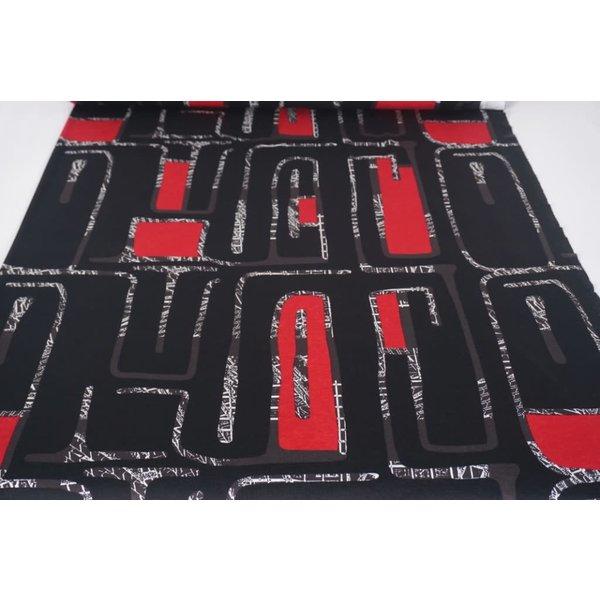 Tricot doolhof in rood en zwart
