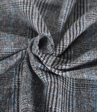 Klassieke ruit geweven grijs met blauw streepje