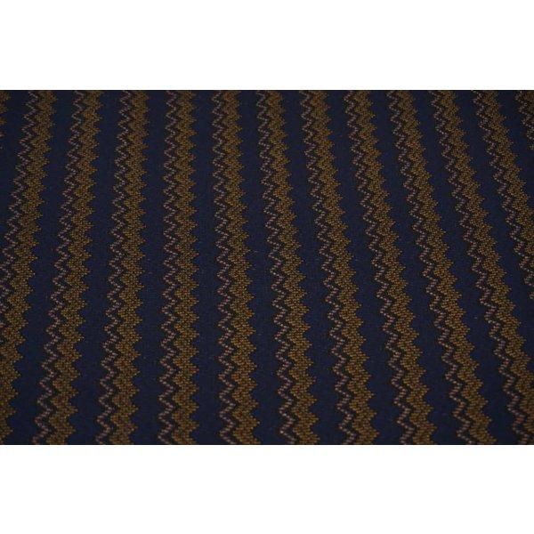 Gebreide zigzag in blauw met oker