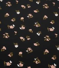 Peachskin zwart met minibloem in zalm