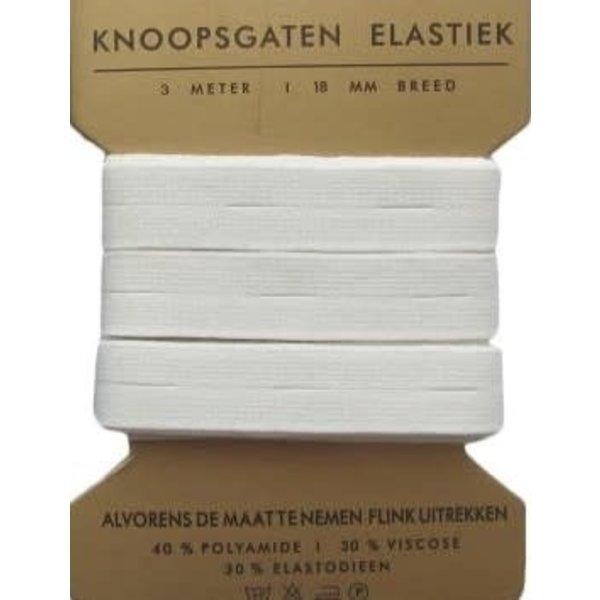 Knoopsgaten elastiek 3 mtr 18mm breed wit