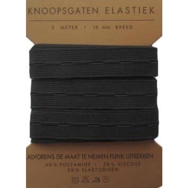 Knoopsgaten elastiek 3 mtr 18mm breed zwart