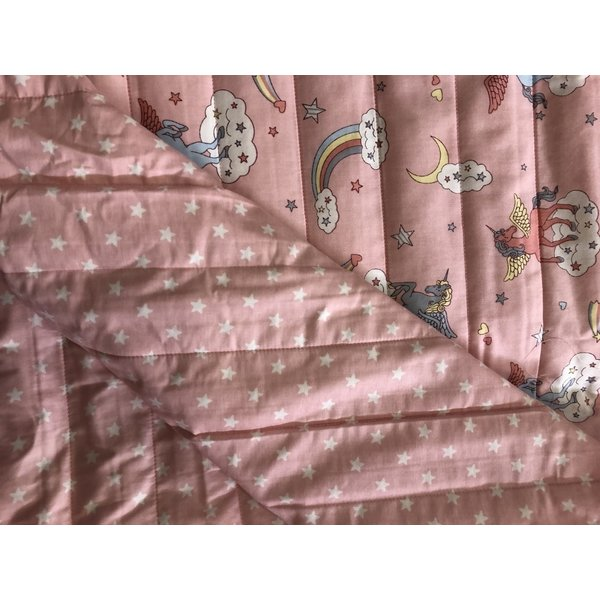 Gewatteerd bloemetjes  roze/  stipjes