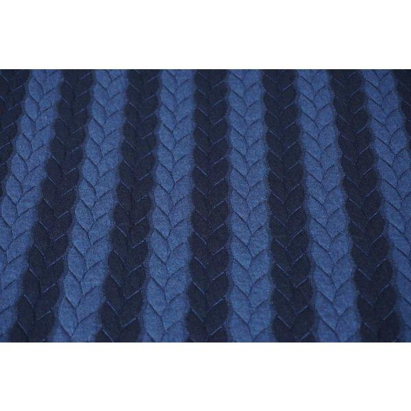 Gebreide kabel jeansblauw met donkerblauw