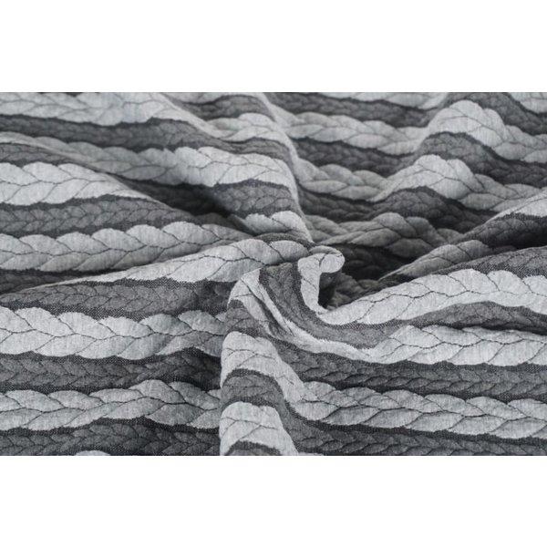 Gebreide kabel grijs met lichtgrijs