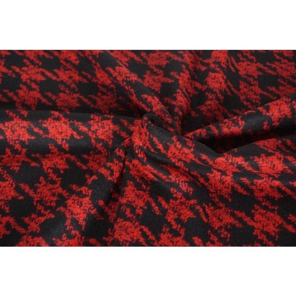 Gekookte wol ruit rood zwart