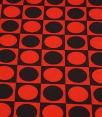 Retro bol in blok zwart met rood