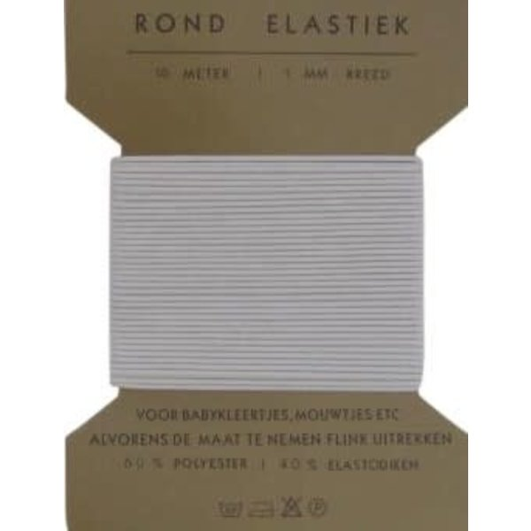 Rond elastiek 1,3 mm breed wit