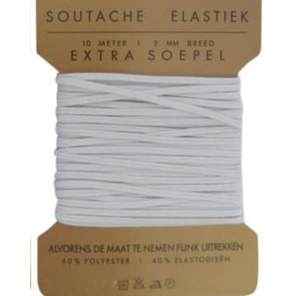 Soutache elastiek 3mm breed wit