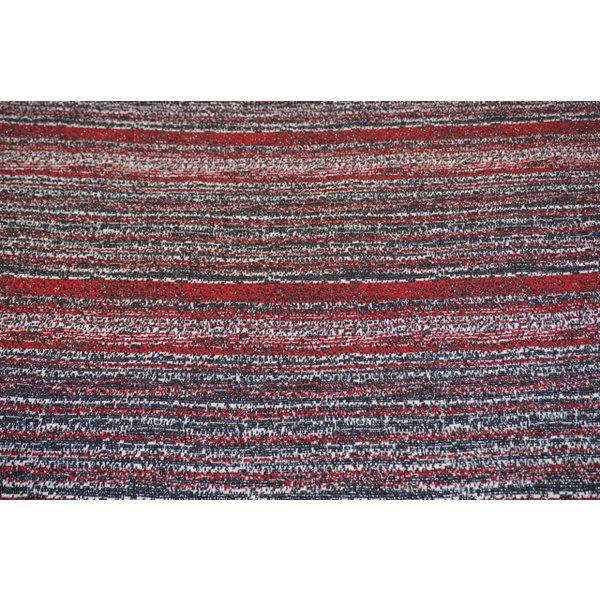 Gebreide streep in rood wit en zwart