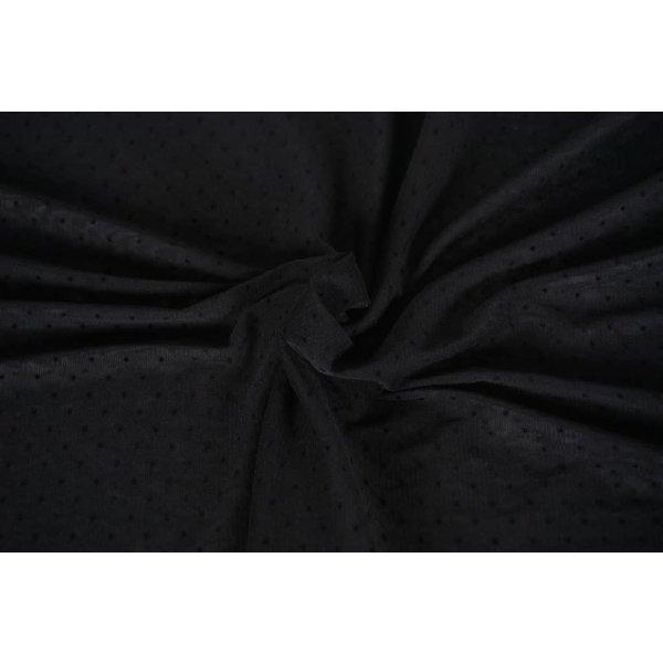 Chiffon stretch zwart met  mini stipje