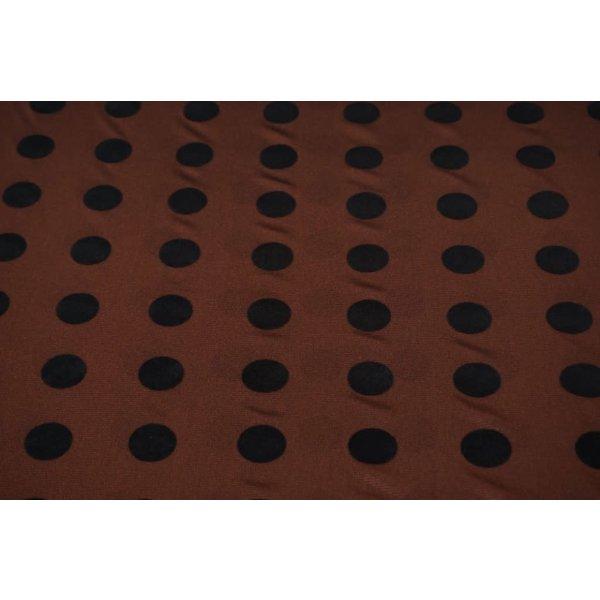 Polyester tricot bruin met zwarte vlokstip