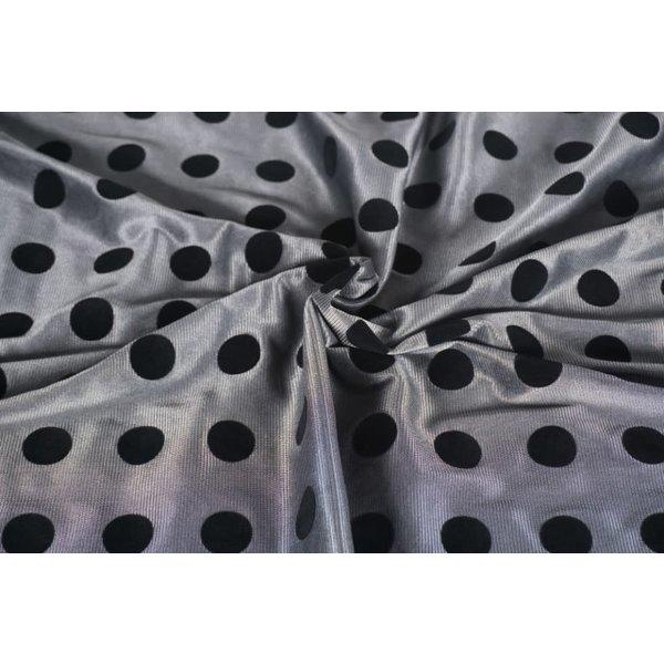 Polyester tricot grijs met zwarte vlokstip