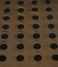 Polyester tricot goudgeel met zwarte vlokstip