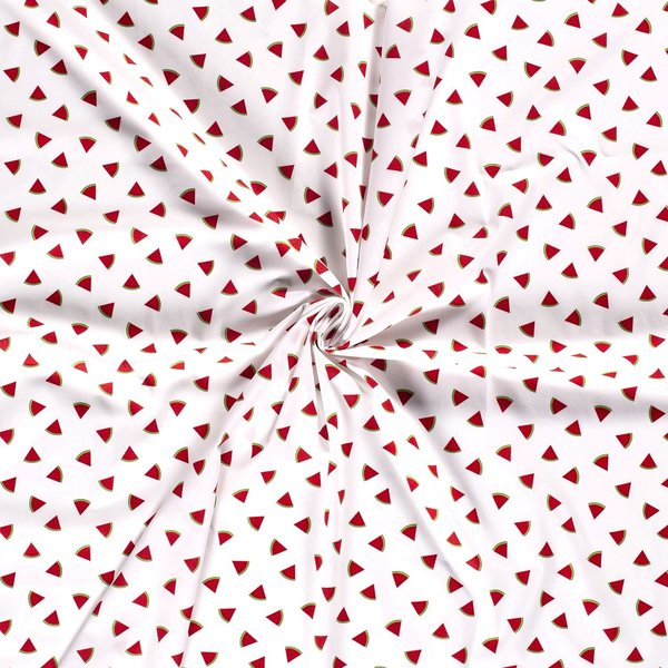Popeline stof witte ondergrond met meloenpartjes