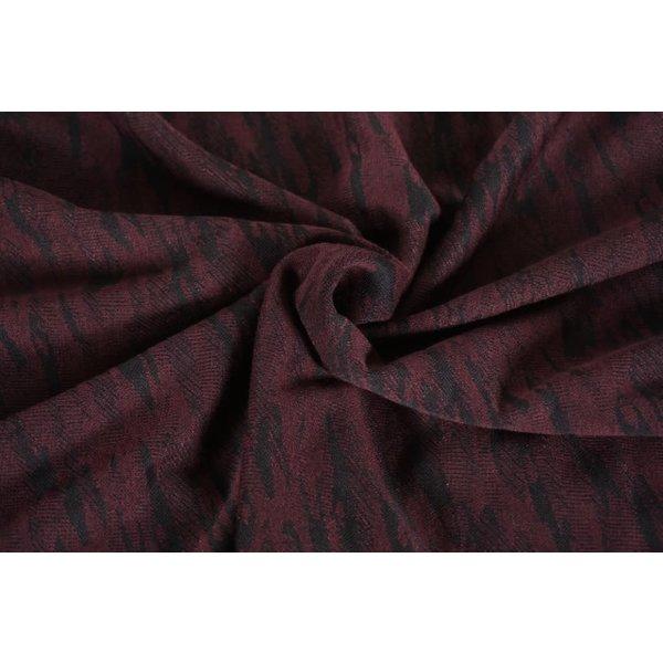 Gebreide stof met vlekpatroon rood/zwart