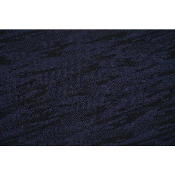 Gebreide stof met vlekpatroon blauw/zwart