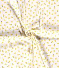 Witte popeline stof met citroentjes