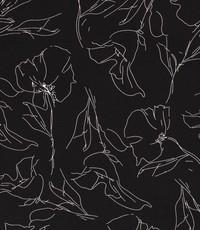 Pentekening gebloemd zwart