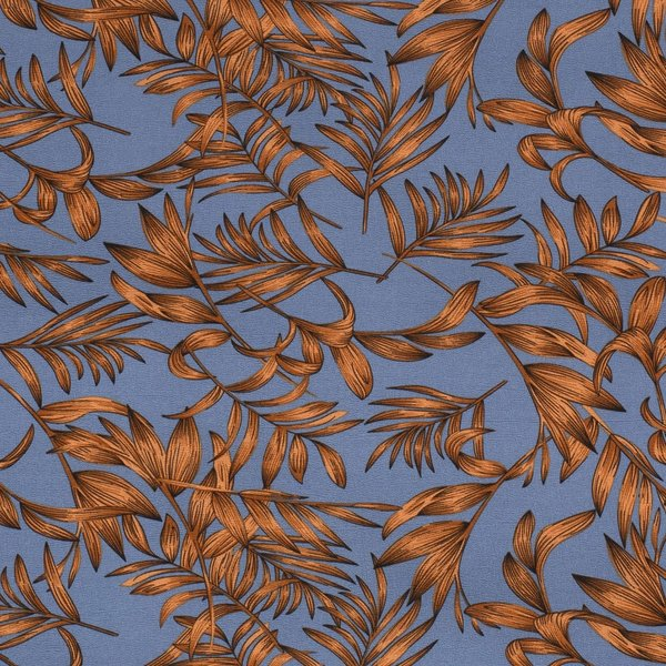 Poly stretch jeansblauw met bladeren