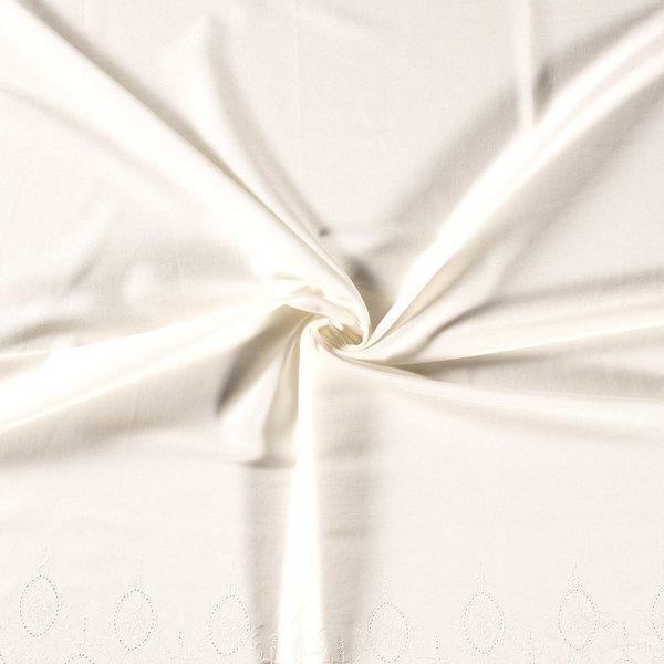 Halflinnen stof met randdessin wit