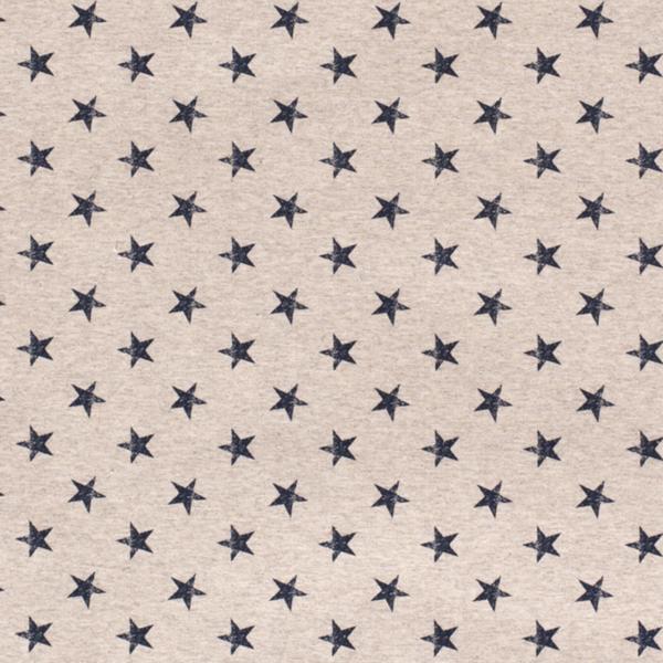 French Terry stof ecru met blauwe sterren