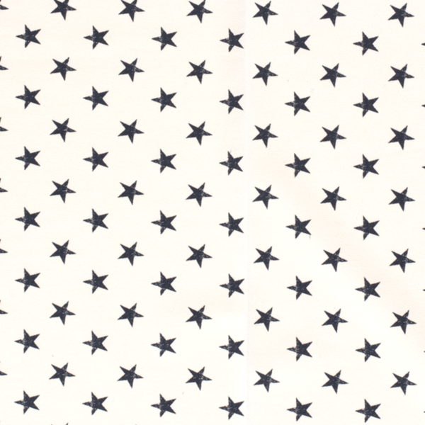 French Terry stof wit met blauwe sterren
