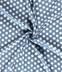 Viscose stof jeansblauw met witte stippen