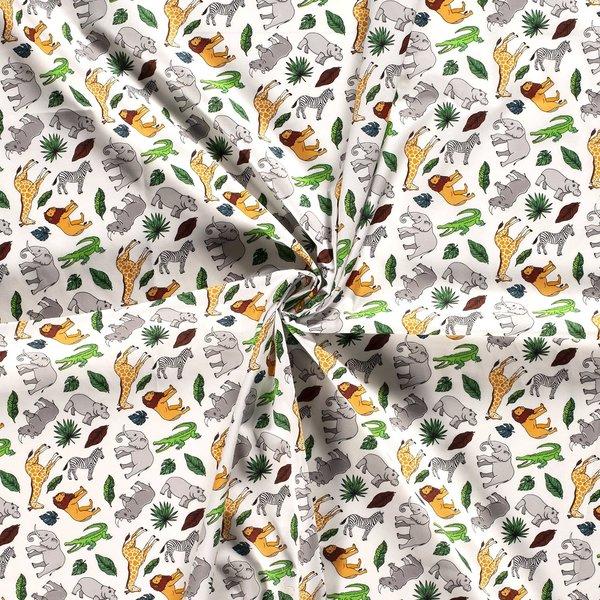 Popeline stof safari wit