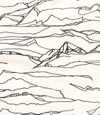 Stretch katoen abstracte print wit