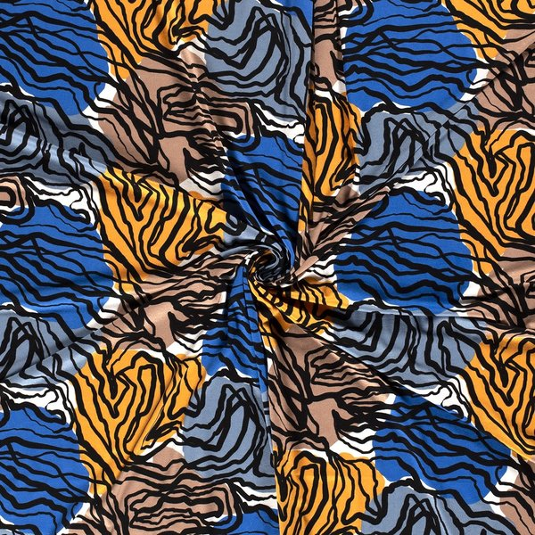 Viscose tricot stof etnic blauw met geel