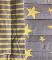 Gewatteerdgrijs met geel ster en streep