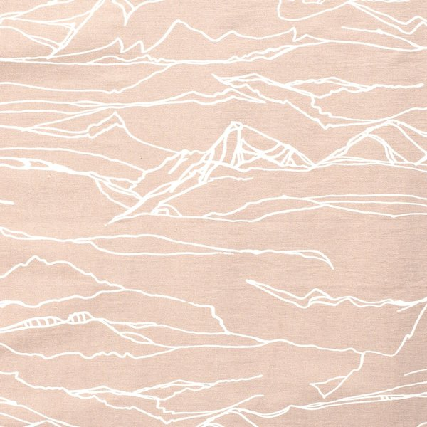 Stretch katoen abstracte print beige