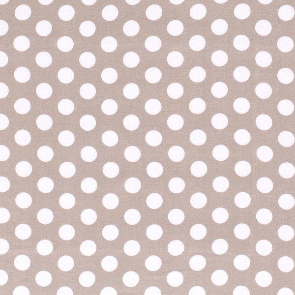 Viscose stof beige met witte stippen