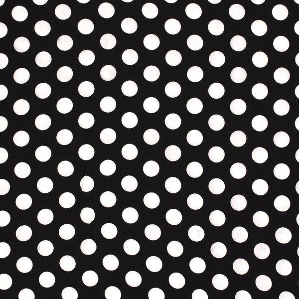 Viscose stof zwart met witte stippen