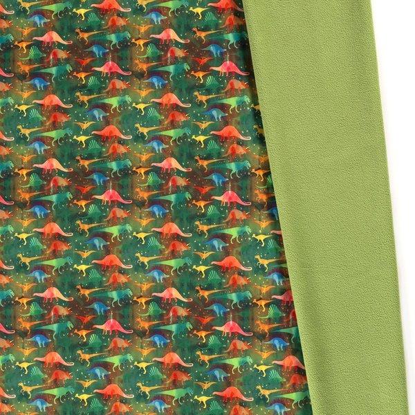 Softshell met dino's in groen en oranje