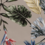 Stretch katoen met blad zandkleur