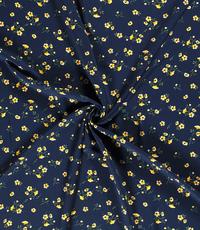Viscose  stof met gebloemd dessin donkerblauw