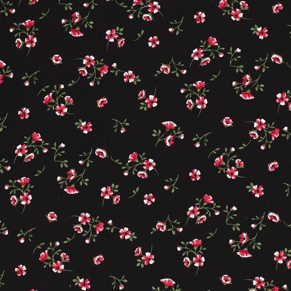 Viscose  stof met gebloemd dessin zwart