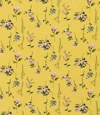 Viscose  stof met bloemetjes geel