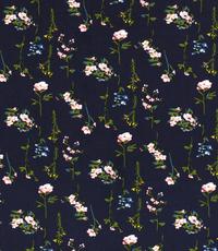 Viscose  stof met bloemetjes donkerblauw