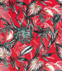Viscose linnenlook met bladprint rood